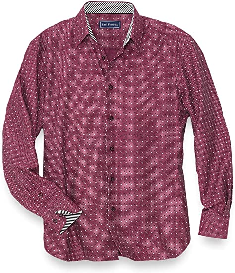Paul Fredrick Mens Non-Iron Cotton Paisley Casual Shirt