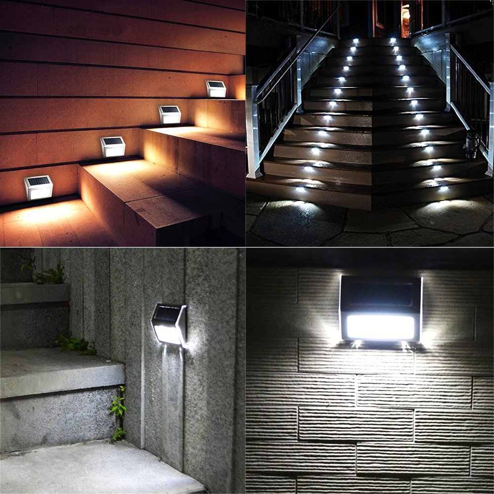 KASUN Solar Deck Lights, Super Bright LED Walkway Light Stainless Steel Waterproof Outdoor Security Lamps for Patio Stairs Garden Pathway - White Light, Pack of 8