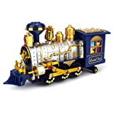 Classical Locomotive Battery Operated Bump and Go Toy Train w/ Smoking Action, Real Train Horn, Working Headlight (Colors May Vary)