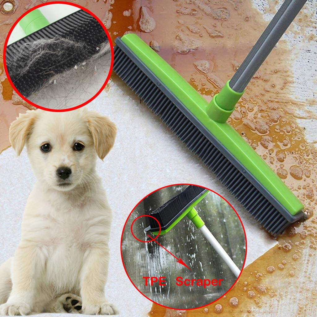 Red-30/% Off Push Broom Removal Pet Human Hair,Excrement,Rubber Broom Bristles Sweeper Squeegee Scratch Mop Soft Bristle 48 Rubber Broom Carpet Sweeper with Squeegee Adjustable Long Handle