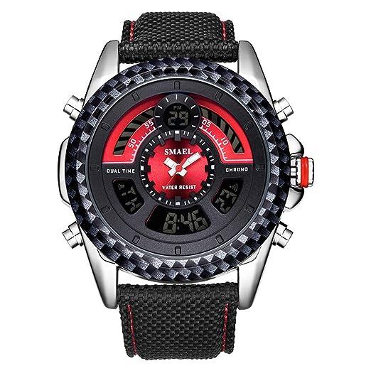 AnazoZ Reloj Hombre Reloj Impermeable Reloj Deportivo Reloj Multifunción Relojes Electronicos Reloj Cuero Reloj de Pulsera Rojo: Amazon.es: Relojes
