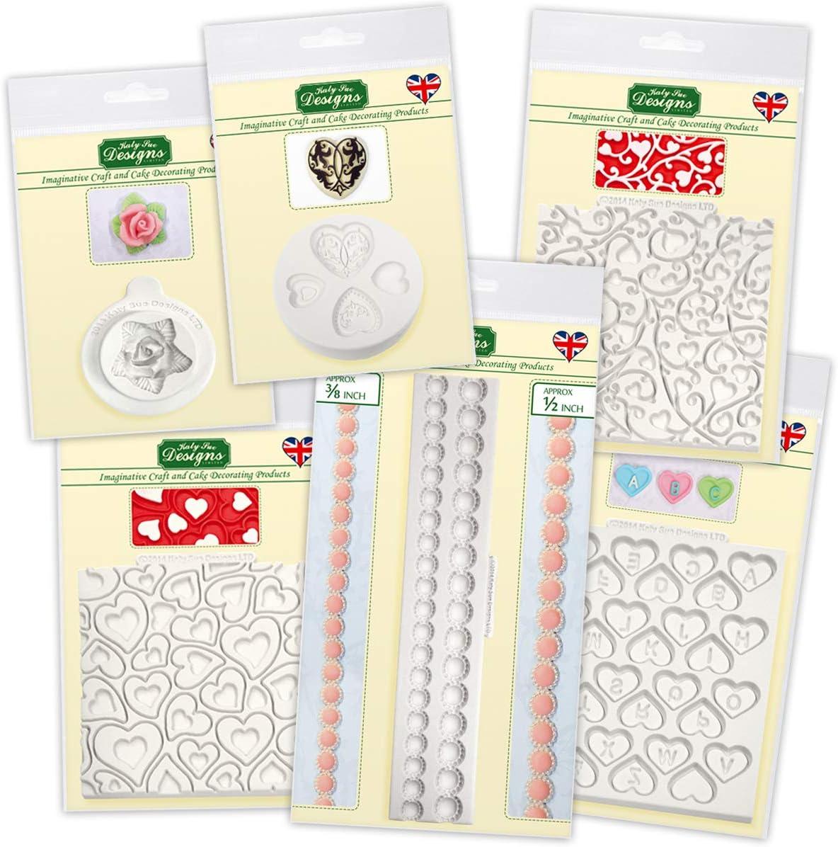 az/úcar cupcakes aptos para alimentos The Valentines Collection Moldes de silicona para decoraci/ón de tartas caramelos y arcilla