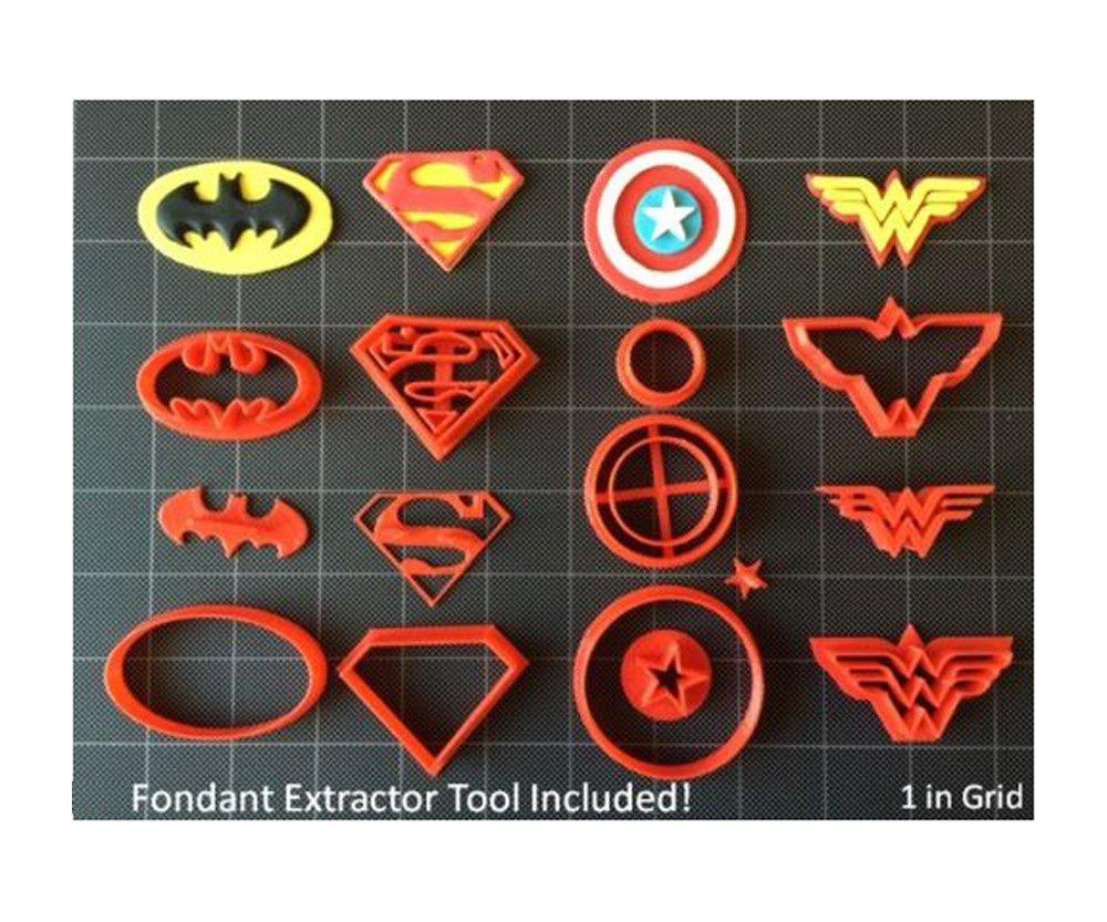 Super Hero Cookie Cutter (Set A) / Fondant Cutter / Cupcake Topper - (14pc Set) (3 inch)