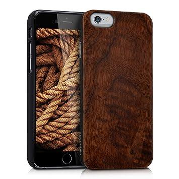 kwmobile Funda compatible con Apple iPhone 6 / 6S - Carcasa posterior de [madera] - Case protector en [marrón oscuro]