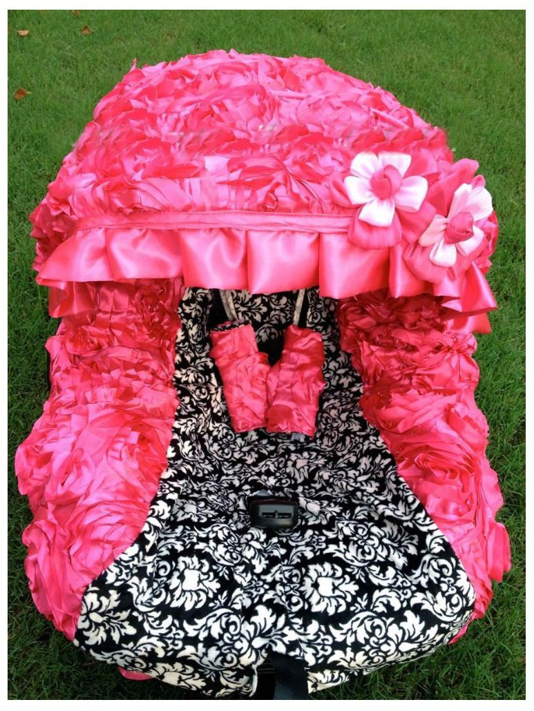 baby 3D hot Pink infant car seat cover canopy cover fit most infant car seat