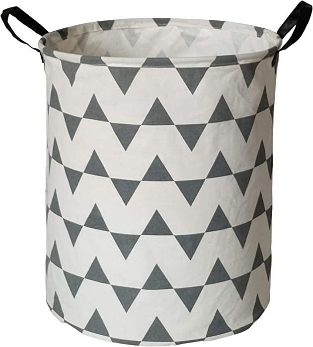 HUAYEE 19.6 Inches Large Laundry Basket Waterproof Round Cotton Linen Collapsible Storage bin with Handles for Hamper Kids Room,Toy Storage(Triangle)