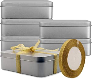 Empty Metal Tins Box with Lid,6 Pack Stainless steel Tins Cans Storage Container for Treats, Gifts, Candle, Favors and Crafts, Silver, 4.9 x 3.7 x 1.6 Inches