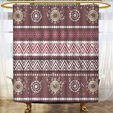 Zambia Print Shower Curtain Antique African Traditional In Earthen Tones With Sun Figures Boho Pattern Bathroom