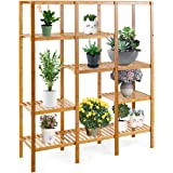 Costway Multifunctional Bamboo Shelf Bathroom Rack Storage Organizer Rack Plant Display Stand W/Several Cell Closet Storage C