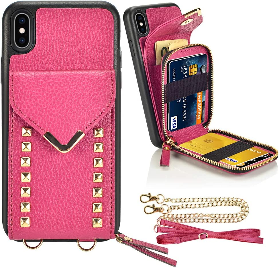 """iPhone Xs Max Wallet case, ZVE iPhone Xs Max Crossbody Case with Zipper Card Slot Holder Wrist Strap Shoulder Chain Leather Handbag Purse for Apple iPhone Xs Max 6.5"""" - Rose Purple"""