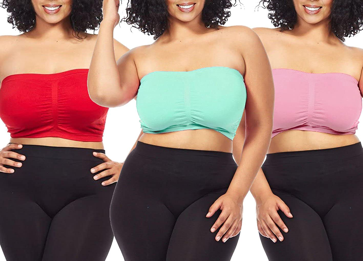 2f4f20d21 Dinamit Fashion 3-Pack Plus Size Seamless Strapless Bandeau Tube Top ...