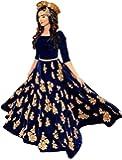 Lovisa Fashion Women's BlackBerry Velvet Lahenga Choli (BlueMastani_multi-color_Free size)