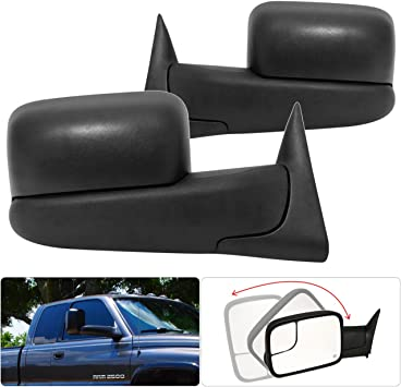 AJP Distributors For Dodge Ram 1500 2500 Extendable Power Side View Heated Tow Towing Mirrors Black