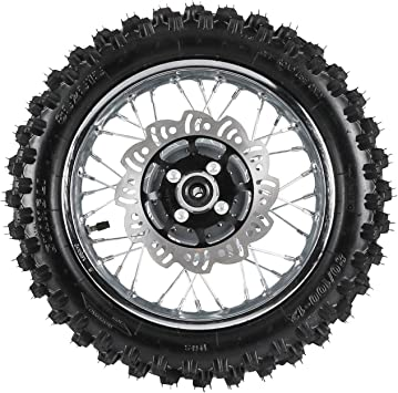 ZXTDR 3.00-12 Rear Wheel Tire Rim with 12mm Bearing /& Brake Disc Rotor and Sprocket for Dirt Pit Bike