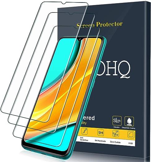 QHOHQ Protector de Pantalla para Xiaomi Poco M3/Redmi 9/Redmi 9A/Redmi 9C, [3 Unidades], Cristal Templado Membrana, 9H Dureza - Sin Burbujas - Anti-Huella - Anti-Arañazos