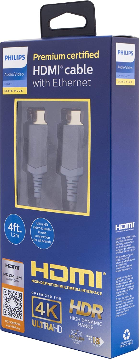 Philips Elite Plus 4ft. (1.2m) Premium Certified High Speed HDMI Cable with Ethernet, Optimized for 4K Ultra HD, 18 GBPS, Metalized Finish, High Dynamic Range, 60Hz – 600Hz, SWV7117A/27