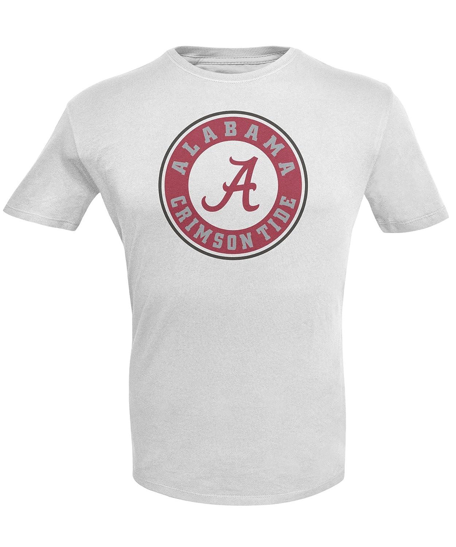 White NCAA Alabama Crimson Tide Mens Short Sleeve R-Spun G-Dye Tee Large