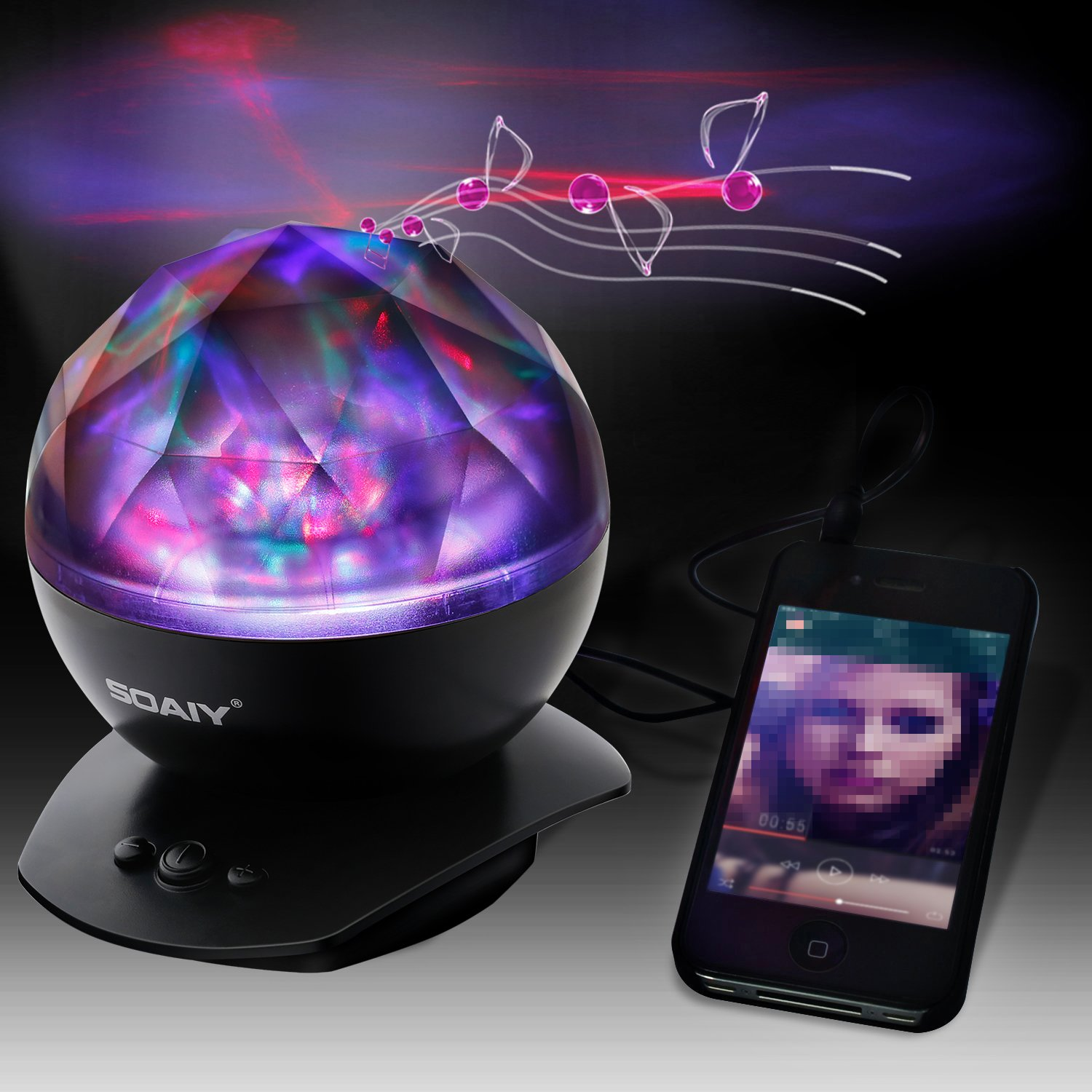 Soothing Aurora LED Night Light Projector with Music Speaker