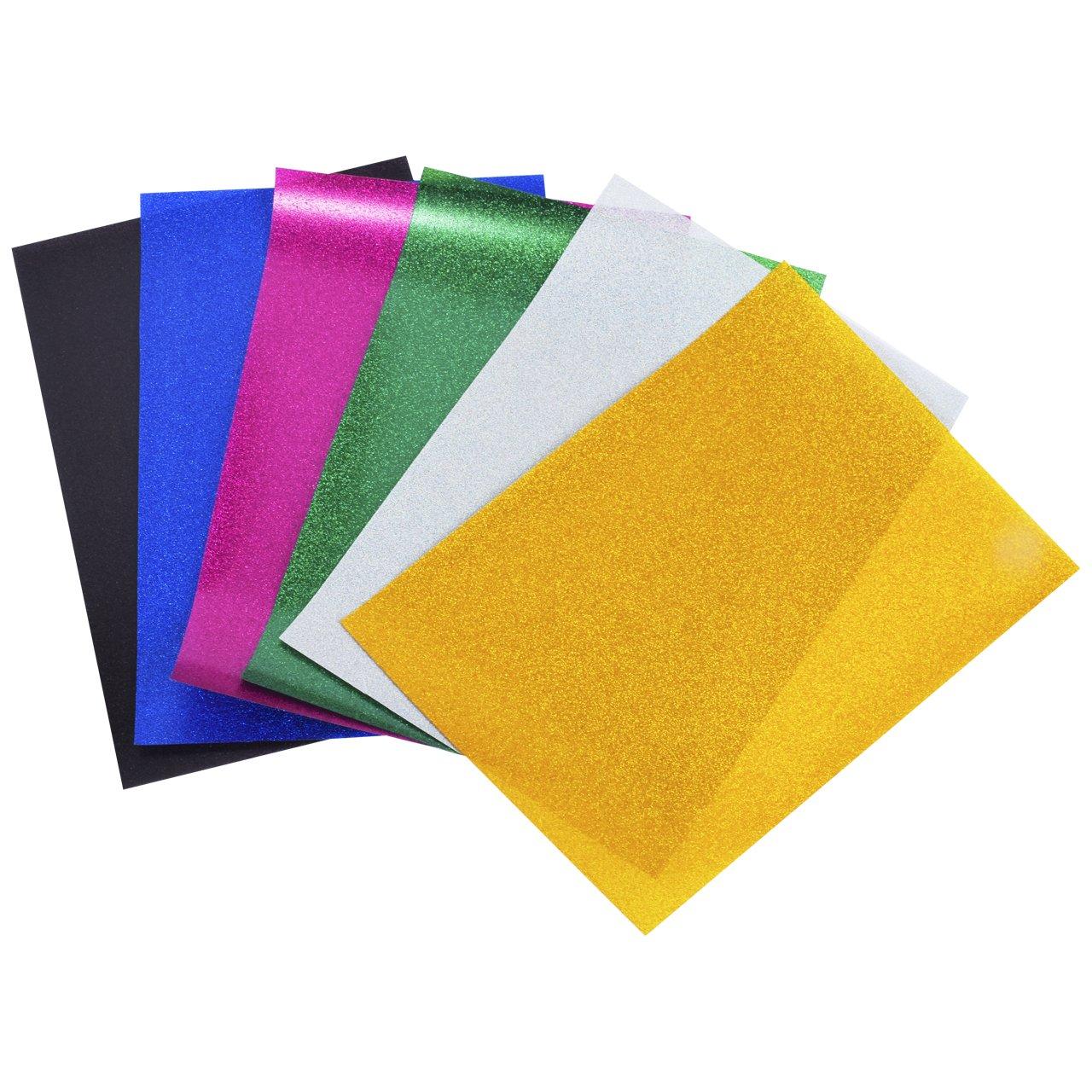 Glitzer Textilfolie, Magiin 6 Blatt Transferpapier Transferfolie Vinylfolien für Textilien DIY A4 Größe in 6 Farben Schwarz Rosa Blau Grün Gelb Weiß