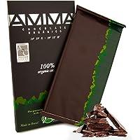 AMMA Organic Dark Chocolate - 100% Pure Cacao - Sugar Free - Keto Friendly - Vegan - Kosher - Halal -Tree To Bar - Single Origin- Brazil - 80g
