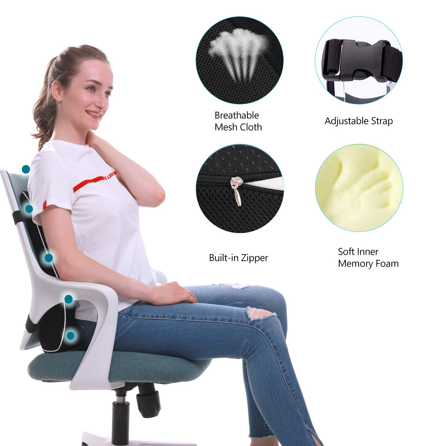 Recliner Breathable 3d Mesh Cover Double Adjustable Straps Large Back Pillow For Car Lumbar Support For Office Chair Memory Foam Back Cushion For Back Pain Relief Improve Posture Computer Chair Lumbar Pillows