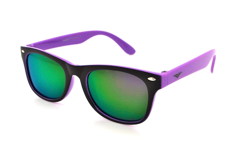 VertX gafas polarizadas ligero fuerte moda niños y niñas niños Retro Wayfarer gafas de sol con funda de microfibra multicolor Purple Frame - Purple Lens: ...