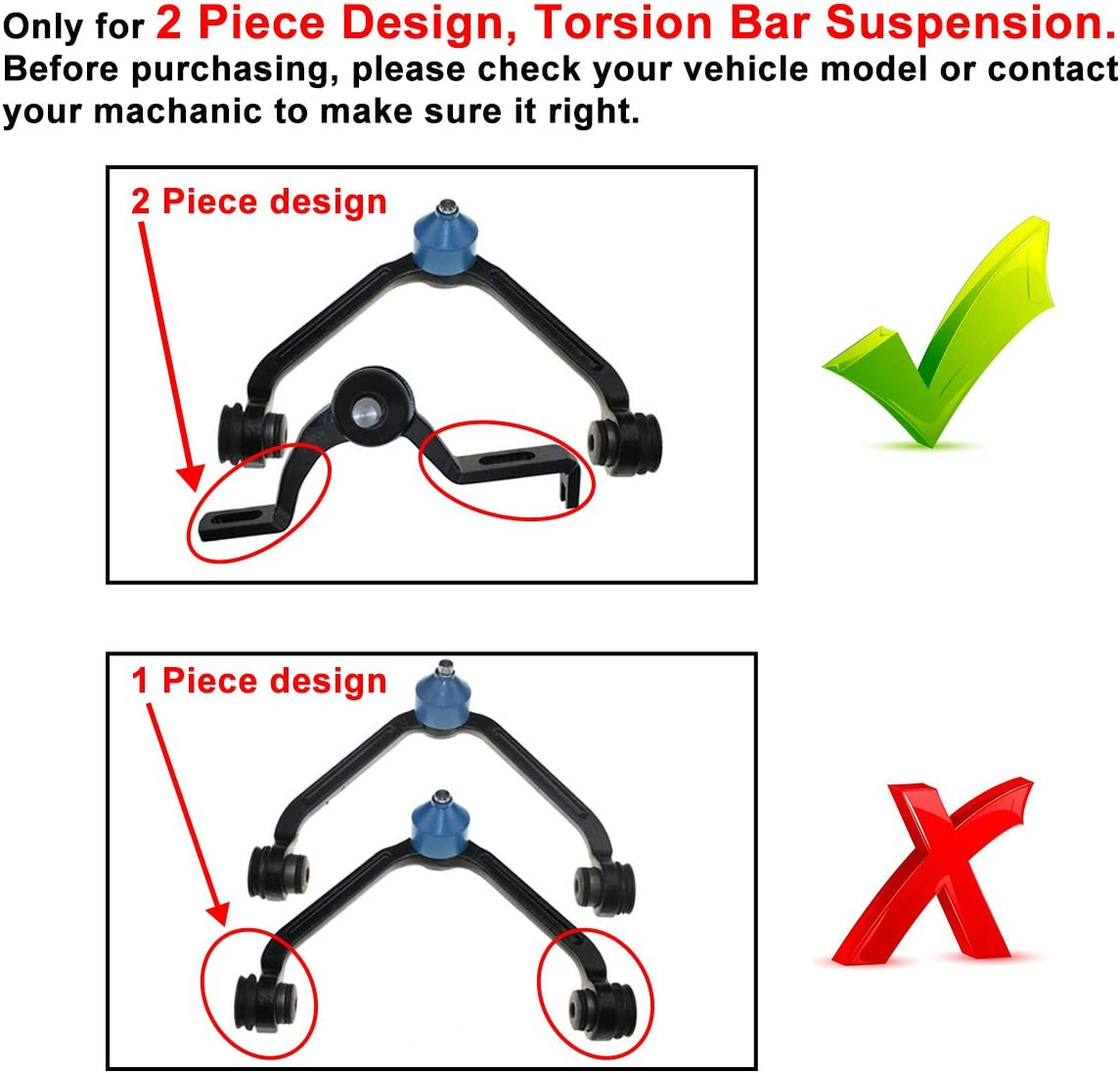 DLZ 2 Pcs Front Upper Control Arm Ball Joint Assembly K8708T K8710T Compatible with Ford Ranger 1998-2003 Ford Explorer 1995-2003 Mazda B2500 1999-2001 Mazda B3000 B4000 1998-2004