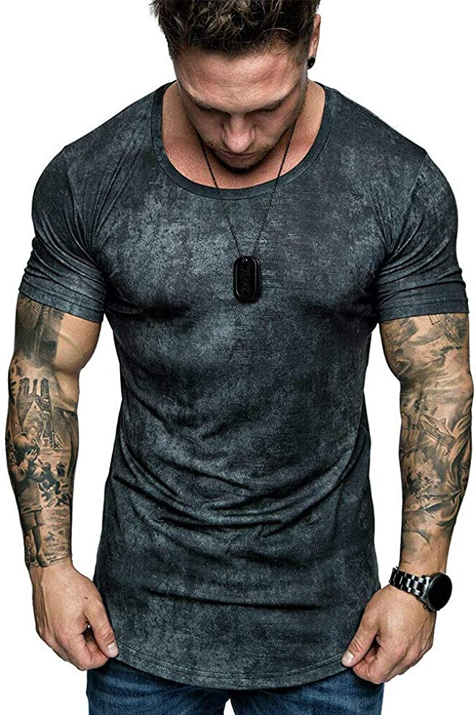 Men Slim Fit Short Sleeve Gym Muscle Tee Shirts Casual T-shirt Top Blouse Summer