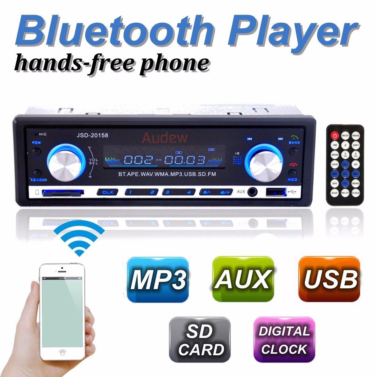 Audew Auto Radio Coche Bluetooth Estereo In Dash AUX USB SD Reproductor Audio MP3 AudewGBSR0wCiV