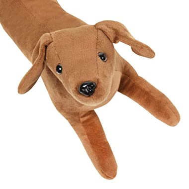 WHAT ON EARTH Dachshund Draft Dodger - Animal Shaped Weighted Door/Window Breeze and Bug Guard, Noise Reducer Draft Stopper - 41 1/2  Long