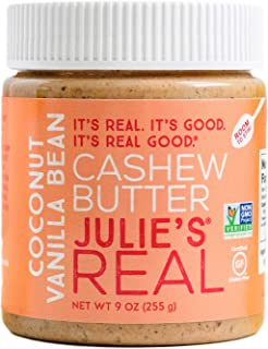 product image for Julie's Real Cashew Butter, Coconut Vanilla Bean - Certified Gluten-Free, Verified Non-GMO, Paleo, Kosher - No Sugar Added, No Palm Oil, Peanut Free - 9 Ounce Jar