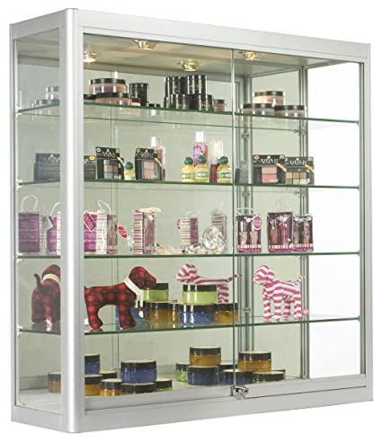 Wall Mounted Tempered Glass And Anodized Aluminum Display Case With Two  20 Watt Halogen