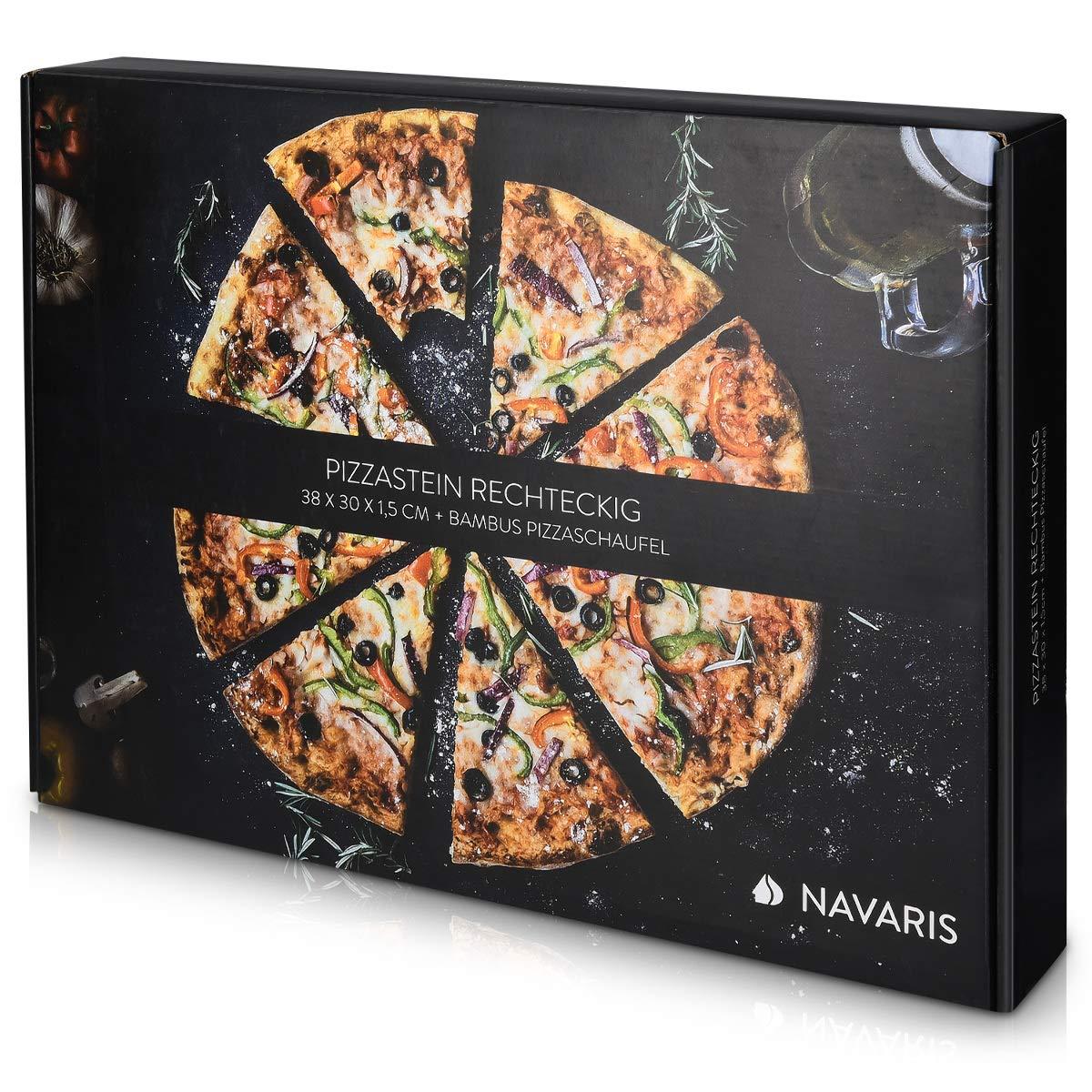 Navaris Pietra Refrattaria per Cottura Pizza Teglia Rettangolare 38x30cm Cordierite 800/° con Pala bamb/ù per Cuocere nel Forno di Casa Pane Pizze
