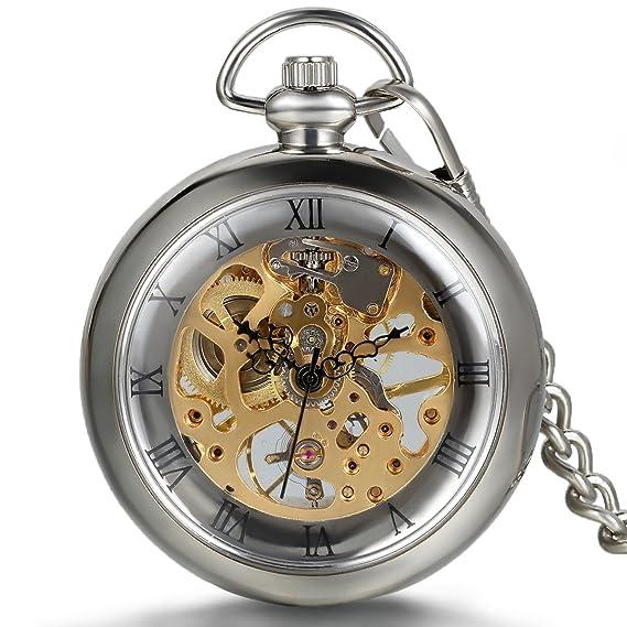 JewelryWe Transparente Reloj de bolsillo mecánico cuerda manual, interesante reloj transparente, hueco número romano, Pleado: Amazon.es: Relojes
