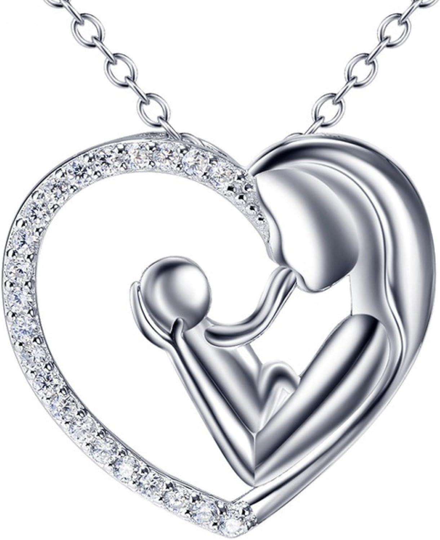 CS-DB Love Heart Crystal Top Stylish Silver Necklaces Pendants