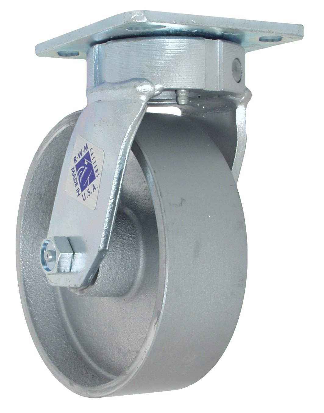 RWM Casters 65 Series Plate Caster, Swivel, Kingpinless, Cast Iron Wheel, Roller Bearing, 1200 lbs Capacity, 6'' Wheel Dia, 2'' Wheel Width, 7-1/2'' Mount Height, 4-1/2'' Plate Length, 4'' Plate Width