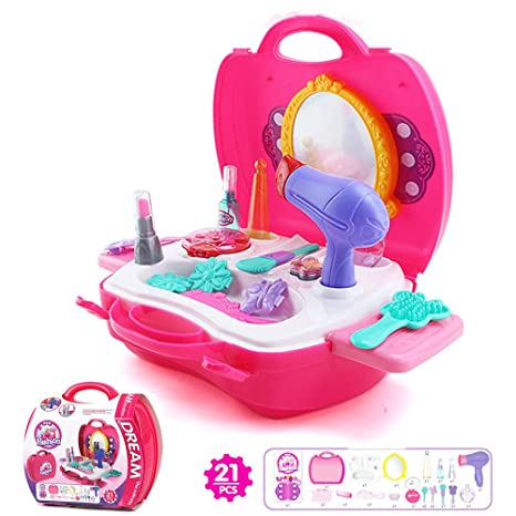 937dd9b19 Pretend Play Makeup Case, Leagway Simulation Make Up Carry Case Dress-Up  Cosmetic Set