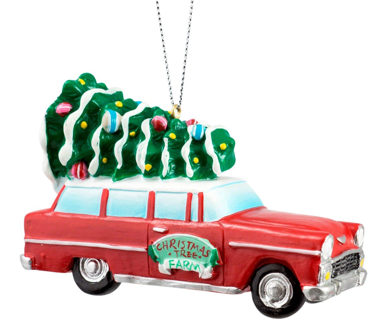 Amazon.com: Retro Station Wagon with Christmas Tree on Top Ornament ...