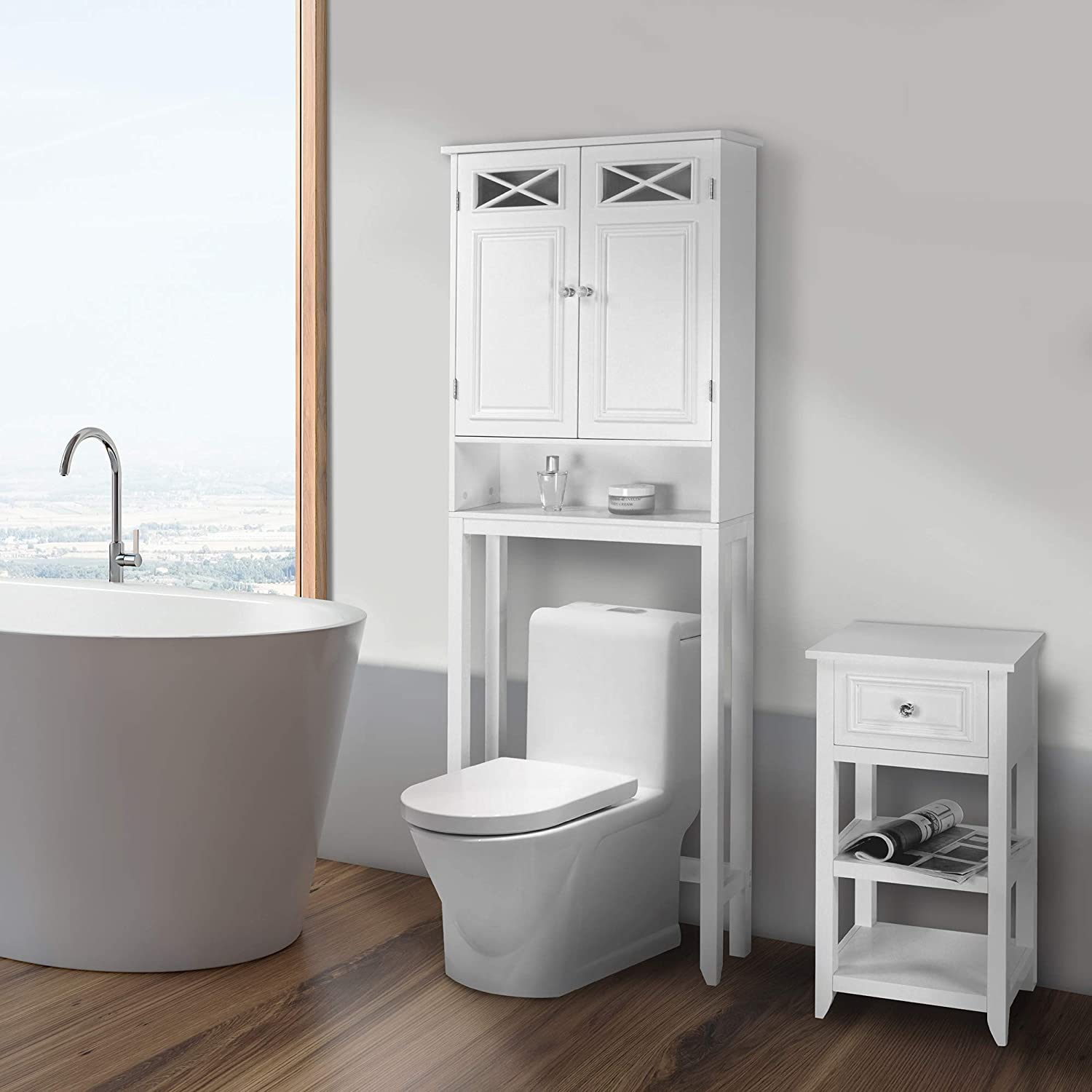 Elegant Home Fashions Dawson Over The Toilet Space Saver Cabinet Storage White Furniture Decor