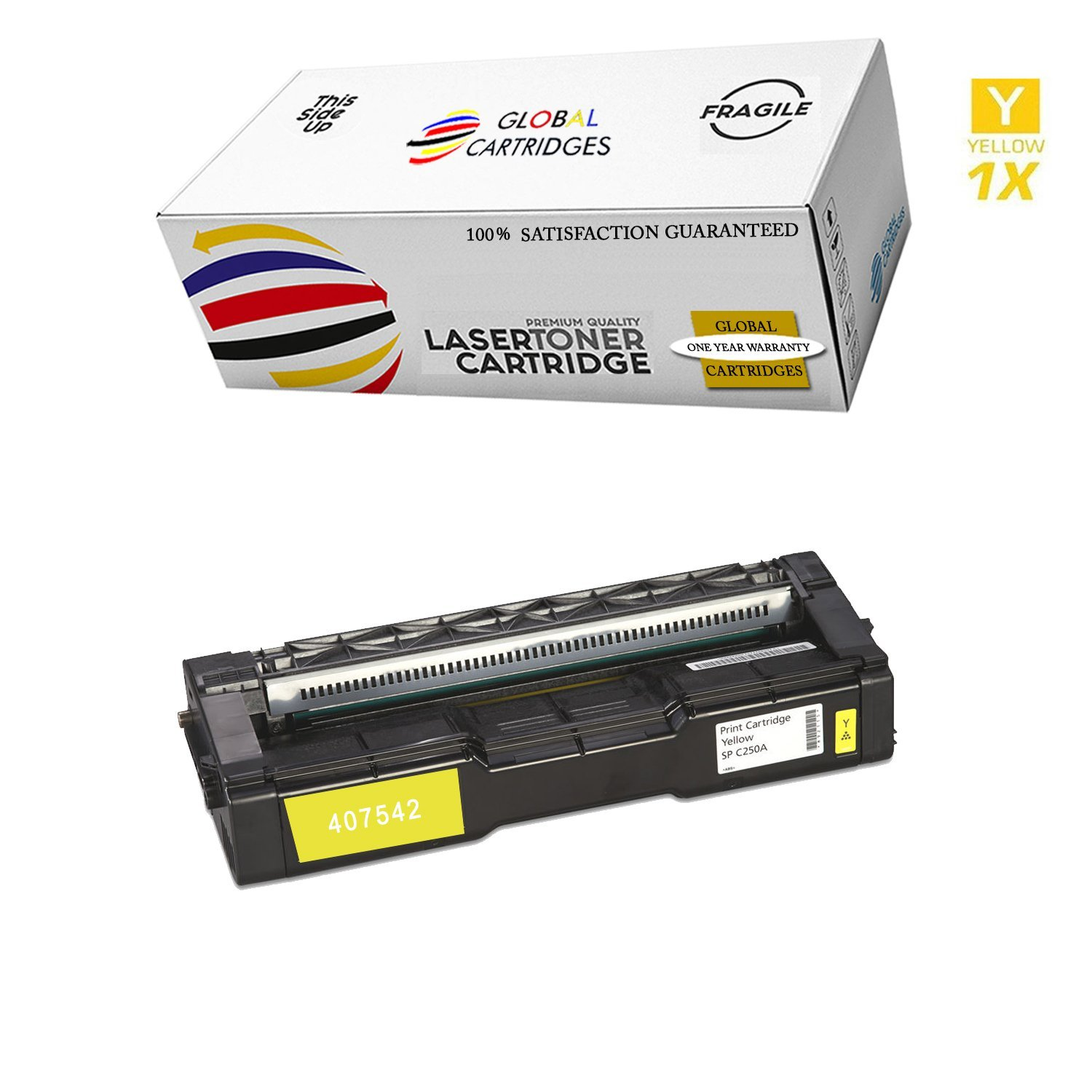 GLB Premium Quality Compatible Replacement Ricoh Yellow 407542 Toner Cartridge for Ricoh SP C250DN SPC250sf SPC250DN C250sf Printers