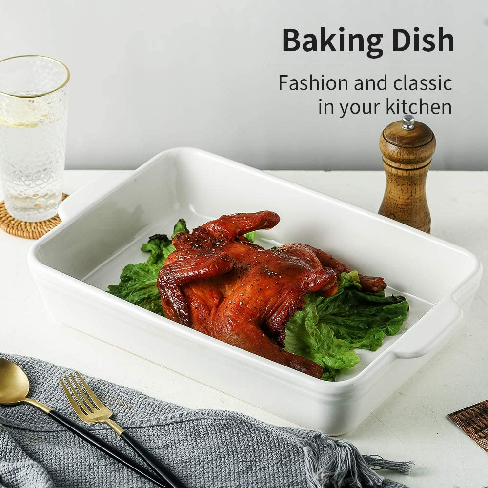 White Ceramic Oven Dish Roasting Cooking Dishes for Oven Ceramic Baking Tray Ronnior Individual Lasagne Dish Large Deep Rectangular Baking Dish Shining Series Serving Dish