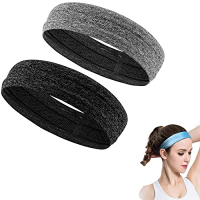 2 Packs Womens Elastic Silicone Lined Non Slip Headbands