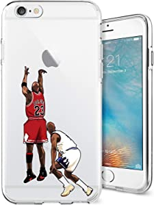 ETERINS Cases Ultra Slim [Crystal Clear] [Hardwood Series] Soft Transparent TPU Case Cover - Michael The Shot Basketball Series for iPhone 6 6s Plus