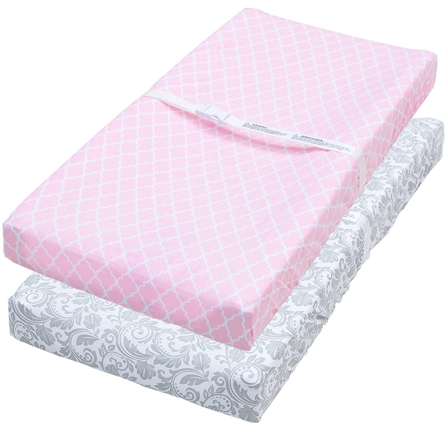 Changing Pad Cover, 2 Pack Pink Quatrefoil/Gray Floral Fitted Soft Jersey Cotton Jomolly