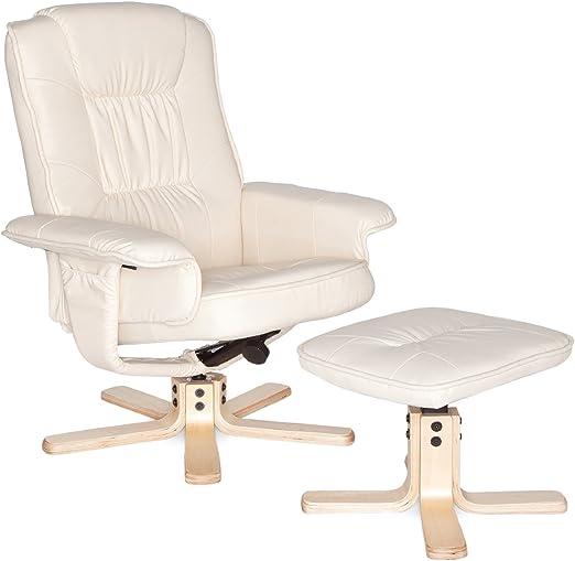 AMSTYLE, Fernsehsessel, Comfort, TV Design Relax-Sessel Wohnzimmer  verstellbar Modern Bezug Kunstleder Beige drehbar mit Hocker X-XL 110 kg