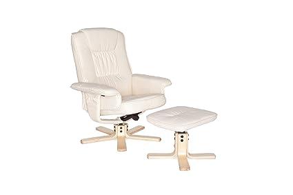 Amstyle poltrona relax girevole con sgabello poggiapiedi bianco