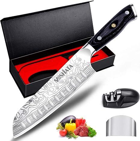 "MOSFiATA 7"" Santoku Knife with Finger Guard and Knife"
