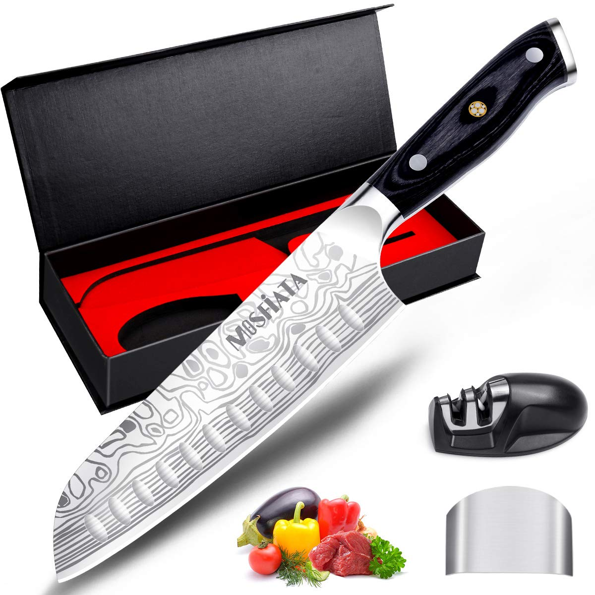 Santoku Knife - MOSFiATA 7'' Super Sharp Professional Kitchen Cooking Knife with Finger Guard and Knife Sharpener, German High Carbon Stainless Steel 4116 with Micarta Handle and Gift Box by MOSFiATA