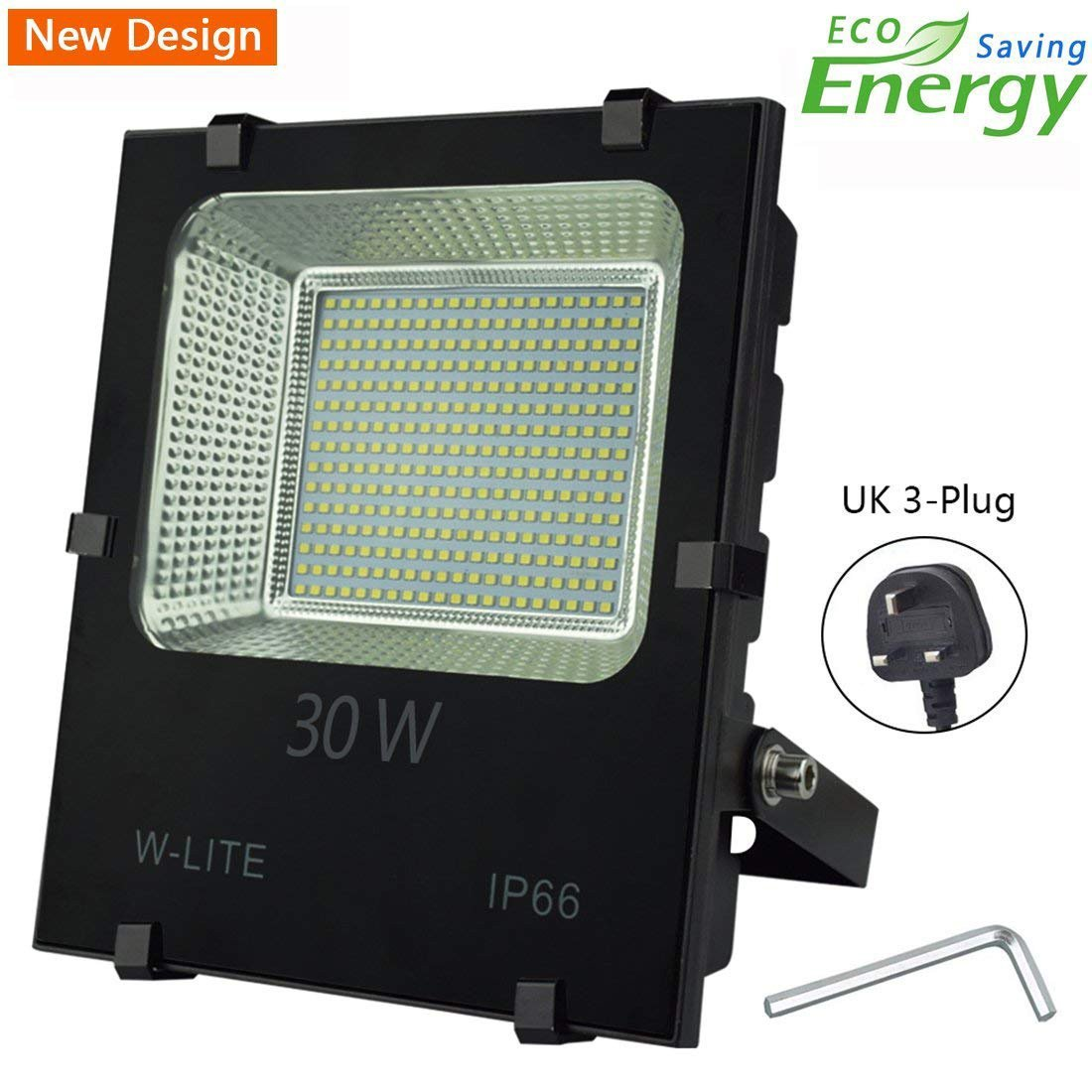30W LED Garden Floodlight IP65, Outdoor Flood Light Plug in,Upgraded Workshop Light, Super Bright 200 LED Chips, 3200LM, Soft Daylight White, 360W Halogen Bulb Equivalent, Input 86-265V [Energy Class A++] W-LITE