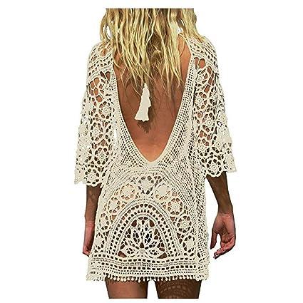 60e4aa25cad74 Women Bathing Suit Cover Up Crochet Lace Bikini Swimsuit Dress Summer  Holiday Swimwear Beach Cover Ups